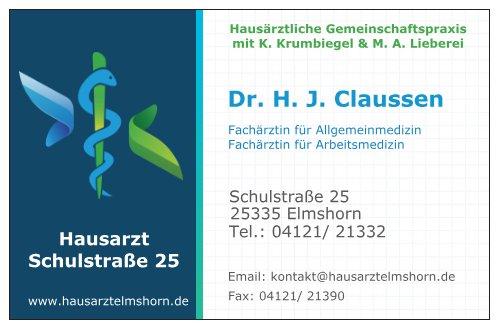 Dr. H. J. Claussen- Fachärztin für Allgemeinmedizin, Fachärztin für Arbeitsmedizin