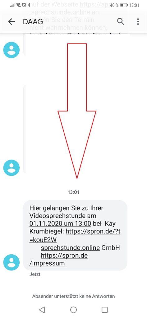 Videosprechstunde - SMS